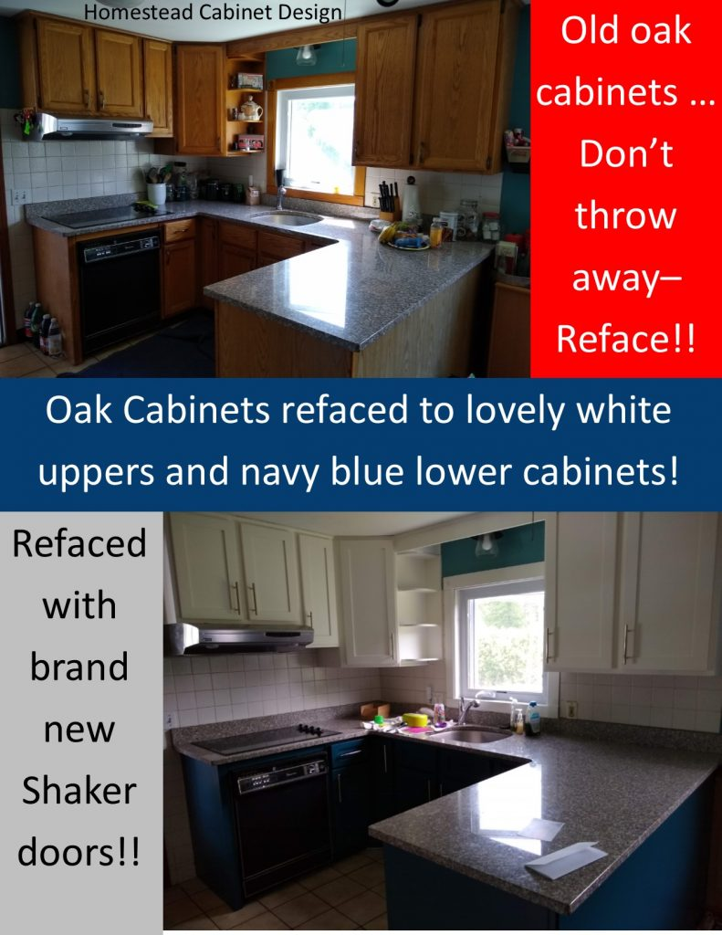 oak cabinets refaced with white shaker doors and navy blue lowers
