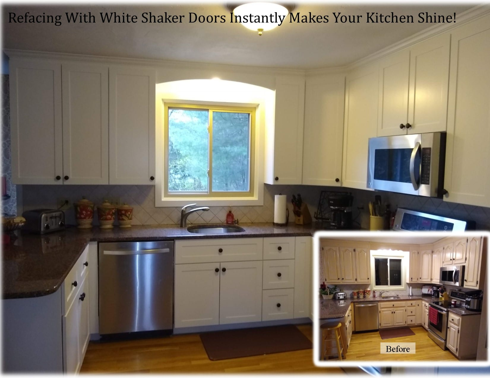 reface with white shaker doors