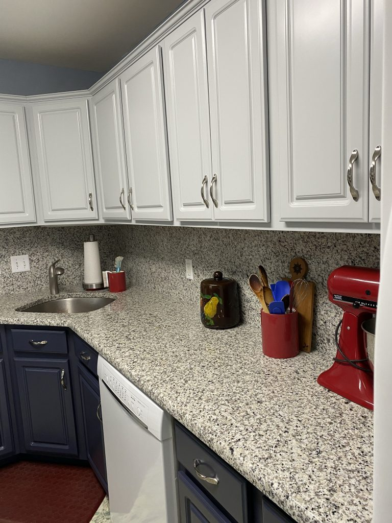 Completed kitchen - painted existing doors and cabinet faces.